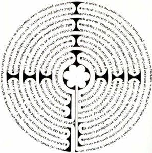 Calligramme du labyrinthe de Chartres