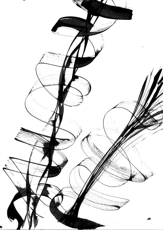 calligraphie gestuelle noir blanc