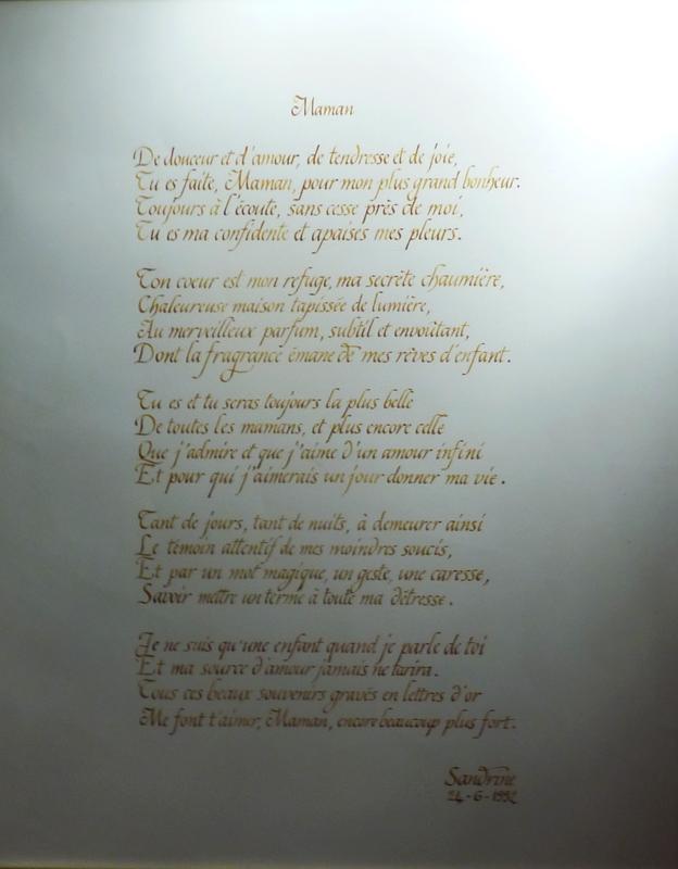 poème calligraphié cadeau pour une mère