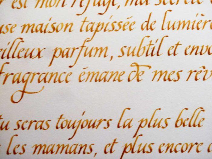 texte calligraphie alphabet chancelière