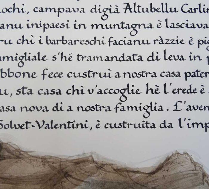 texte calligraphie pour maison corse