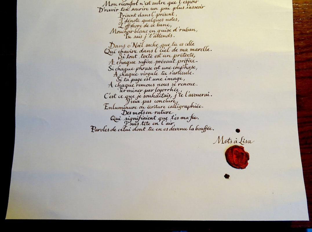 poème d'amour calligraphie