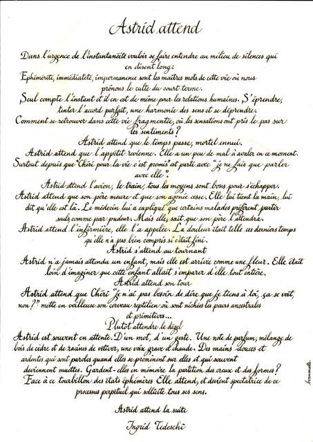 commande de calligraphie en alphabet chancelière
