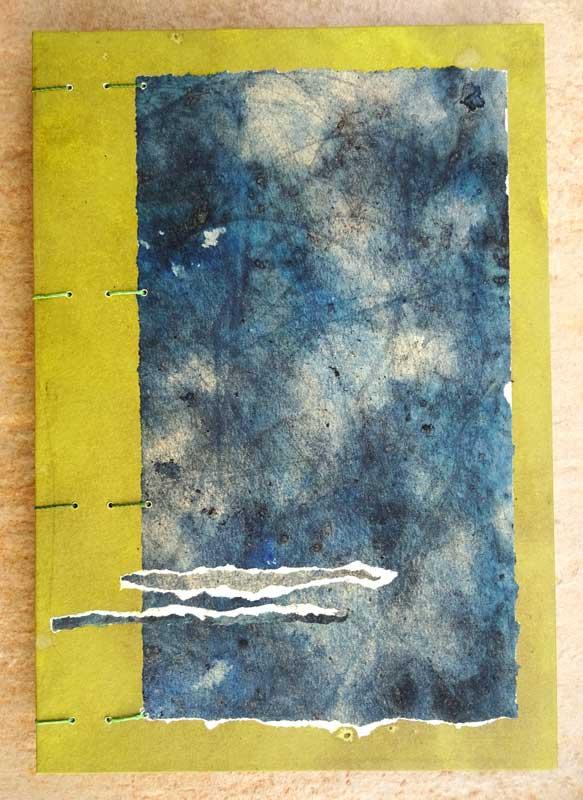 livre reliure copte fait main couleurs végétales indigo