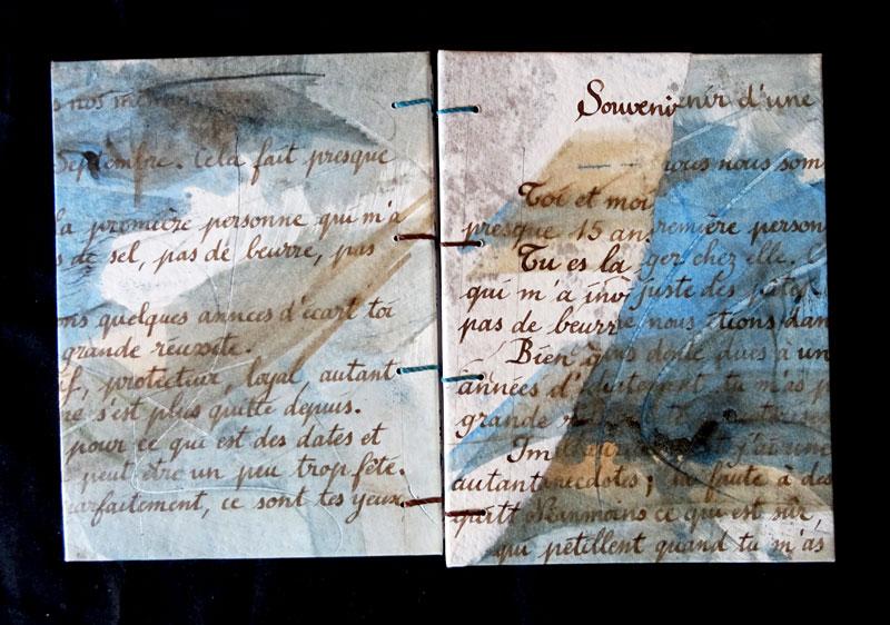 reliure copte carnet poétique calligraphie sépia encres bleutées brou de noix